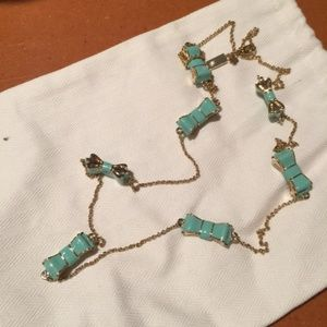 Turquoise and Gold Kate Spade Bow Necklace